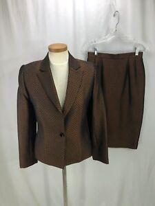 Carlisle-Women-039-s-brown-Silk-Wool-Blend-Skirt-Suit-4