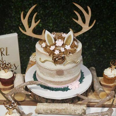 Custom Natural Wood Deer Antler Cake Topper Winter ...