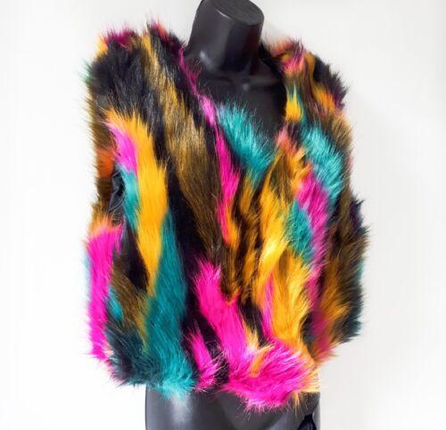 New Women Multi Colour Ladies Winter Faux Fur Crop Vest Gilet Waistcoat Jacket