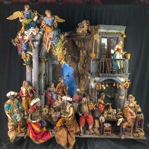Presepe-Napoletano-completo-scena-casa-osteria-Nativita-039-arte-165x60x150-cm