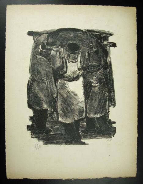 """""""mademoiselle Fiacre"""" Les Halles à Paris Ouvrier Gravure Originale Signée 1947"""