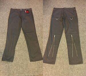 Death-Kitty-Black-White-Pinstriped-Zip-Bondage-Trousers-Goth-Punk-Steampunk-W30