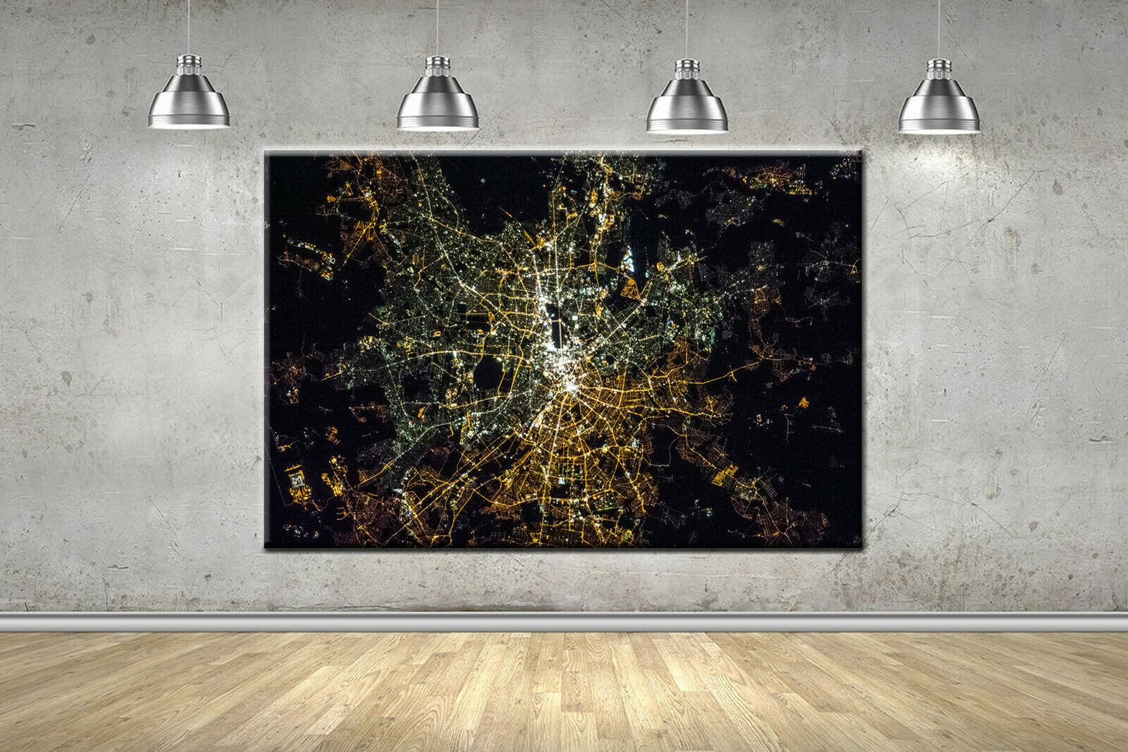 Berlin City Night Maps Framed Canvas Photo Wall Art Picture Home Decor 5 Größes