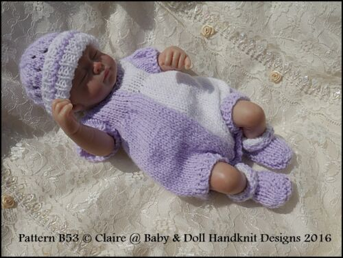 "BABYDOLL HANDKNIT DESIGNS KNITTING PATTERN ROMPER /& JACKET SET B53 8-13/"" DOLL"