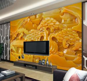3D golden Jade Stone 8 Wall Paper Murals Wall Print Wall Wallpaper Mural AU Kyra