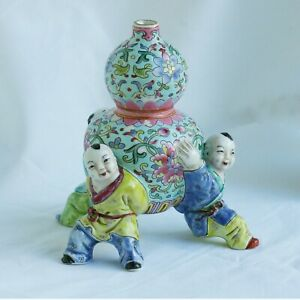 Unusual Shape Vintage Chinese Vase