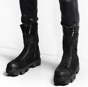Men Punk shoes lace up zipper platform