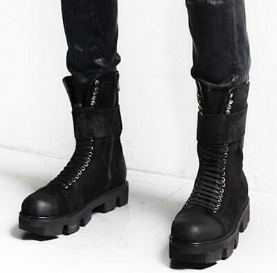 genuine leather Mens Punk shoes lace up zipper platform work military boots New