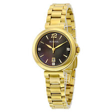 Bulova Diamond Gallery Black Mother of Pearl Dial Yellow Gold-plated Ladies