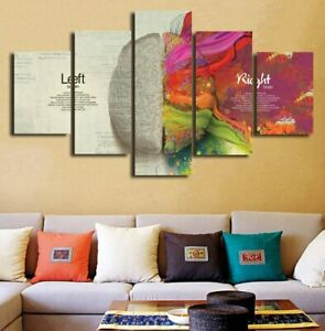 Left Right Brain Abstract Art 5 Pcs Canvas Wall Art Painting Poster Home Decor Ebay
