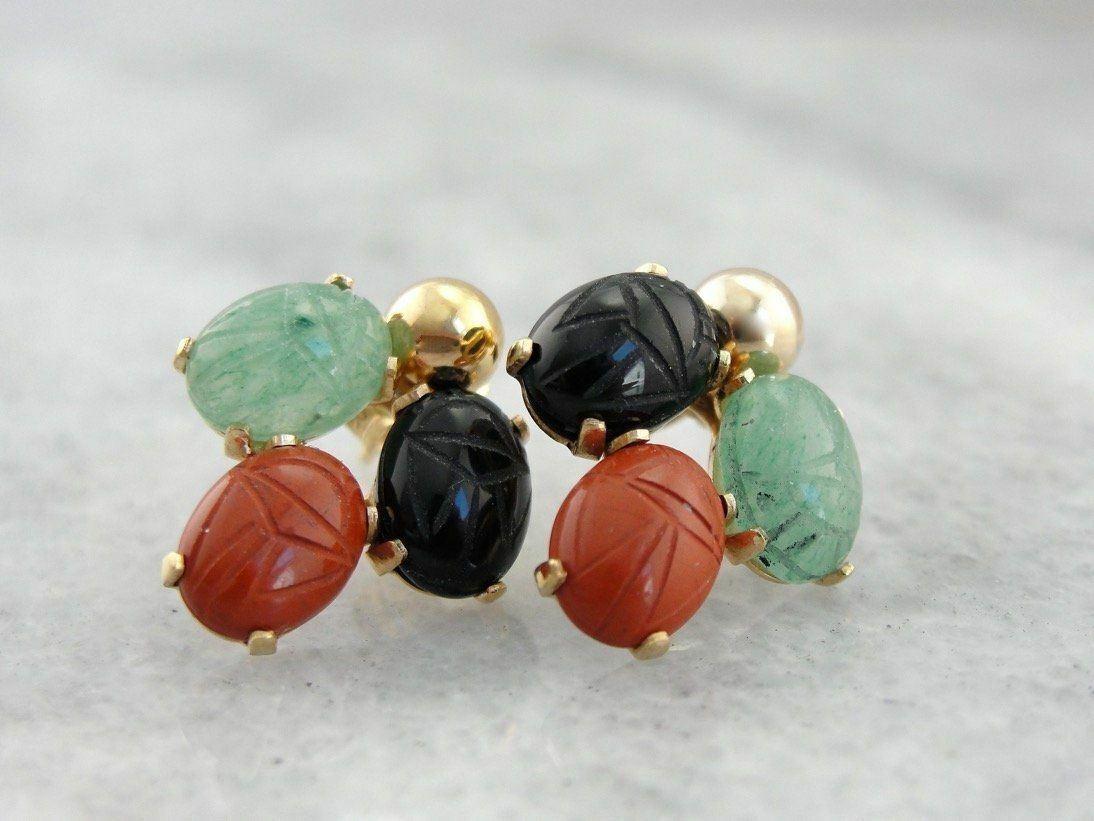 Vintage Carved Scarab Stud Earrings, Multi Gemstone Cluster Earrings