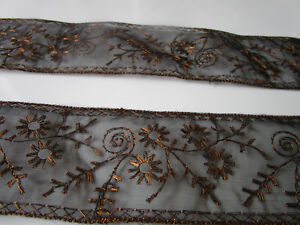 2 METER Borte Blumen Spitze nicht elastisch schwarz 3,5 cm