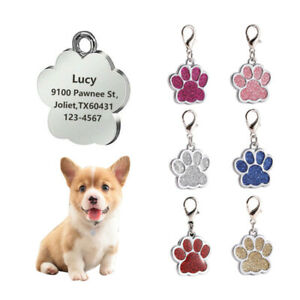 Pet-Glitter-Paw-Free-Engraved-Dog-Id-Name-Tags-Personalised-Puppy-Pet-Cat-Tags