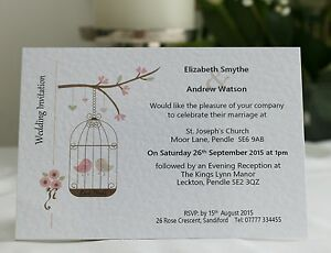 50-x-Personalised-Wedding-Invitations-Day-Evening-with-Envelope-Birdcage