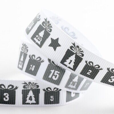 Let it snow Christmas Ribbon Silver Grosgrain Festive X Mas Gift Present Wrappin