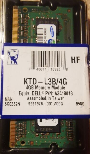 Kingston KTD-L3B/4G Random Access Memory - Memory Module- Sealed