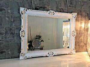 Specchio muro barocco rettangolare antico weiß gold silber