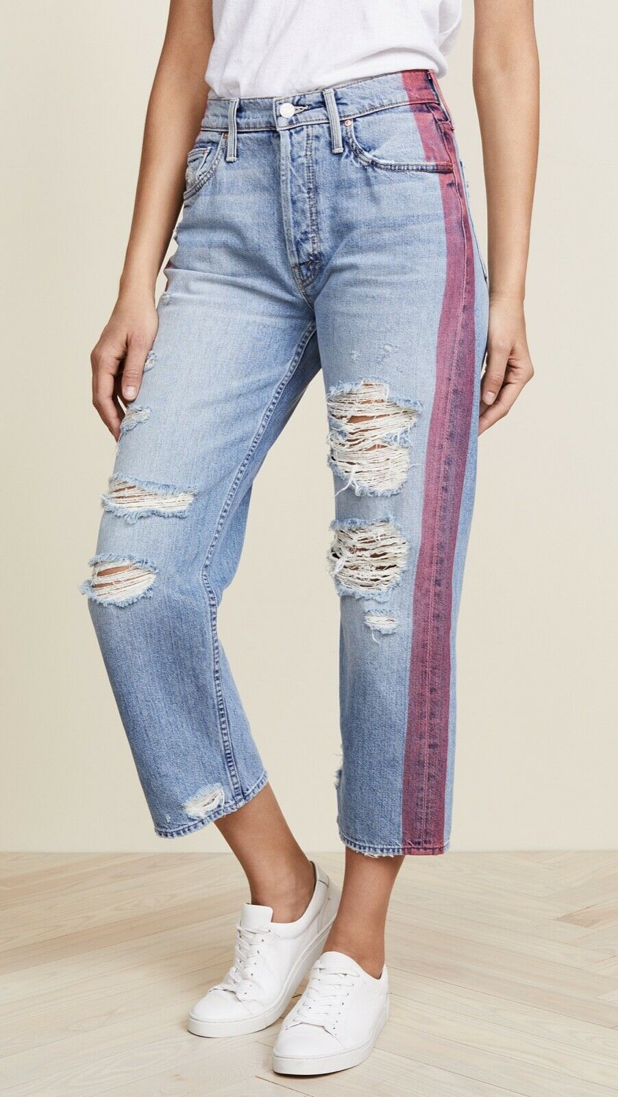 MOTHER The Thrasher Striped Hanging By A Thread Light Washed Distressed Jeans 24