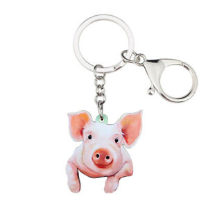 Acrylic Lovely Pink Pig Piggy Keychain Ring For Women Teens Wallet ... 2ea7aef24862