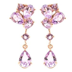 EARTH-MINED-9X7MM-PINK-AMETHYST-GEMSTONE-ROSE-GOLD-amp-STERLING-SILVER-925-EARRING