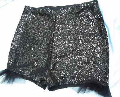 Gut High Waisted Black Sequin Shorts Hot Pants Tulle Ruffle Xs S M L Xl Xxl Xxxl Strukturelle Behinderungen