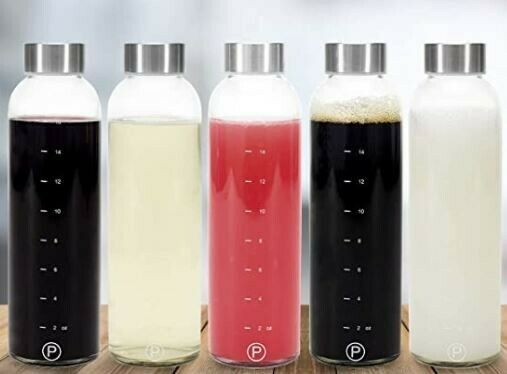 Pratico Kitchen 18oz Leak-Proof Glass Bottles Water//Beverage Bottles Juicing Containers 2-Pack