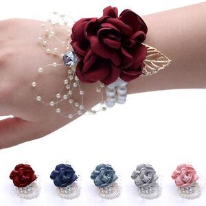 Flower-Wrist-Corsage-Pearl-Bead-Bracelet-Wedding-Prom-Party-Bridesmaids-Decor