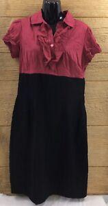 Roulette-Women-Dress-Size-10-Dark-Pink-Black-Knee-Length-Pencil-Ruffle