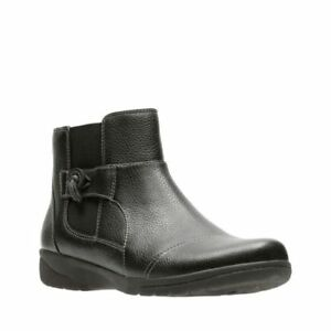 ccb73e8ef51 NEW CLARKS WOMENS CHEYN WORK BLACK LEATHER MEDIUM AND WIDE ANKLE ...