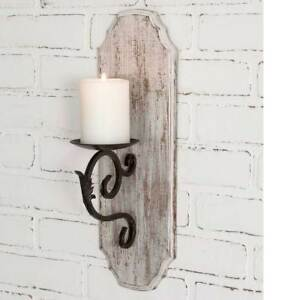 Details About White Wood Pillar Candle Holder Wall Sconce Distressed Rustic Farmhouse Decor