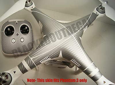 DJI Phantom 3 / Remote SILVER Carbon Fiber Graphic Wrap Decal Skin P3