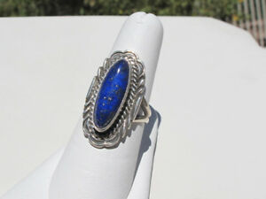 Handmade Native American Sterling Silver Blue Lapis Lazuli Signed CP Ring Size 7
