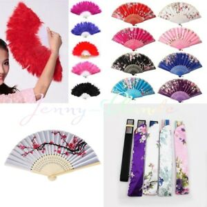 Chinese-Japanese-Fan-Lady-Flower-Wood-Folding-Hand-Held-Dance-Party-Wedding-Prom