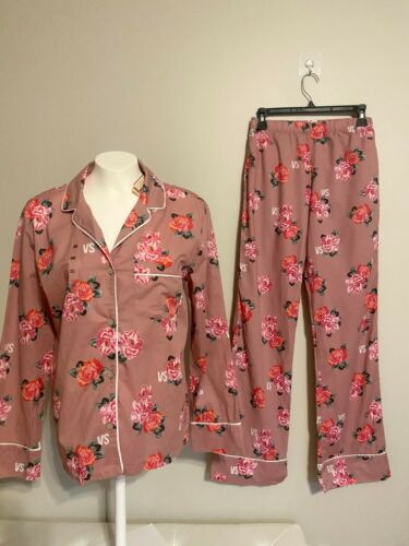 I8$60 VICTORIAs SECRET Light Weight COTTON Pajama 2p Set PINK DUSTY ROSE FLORAL