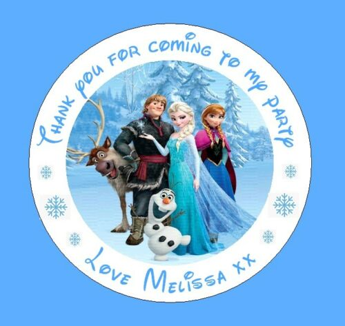 Personalised frozen round stickers labels party bag thank you x48 stickers