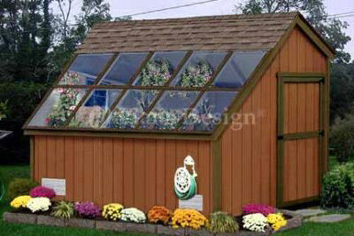 10 X 8 Greenhouse Garden Shed Plans Yard Frames Blueprints 41008