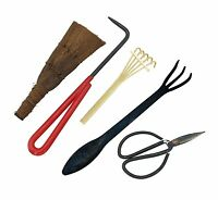 Bonsai Tool Set 5pc Root Rake, Shear, Root Pick, Moss Brush