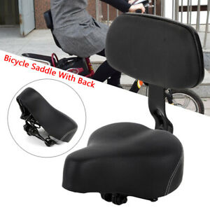 PU-Universal-Bicycle-Saddle-With-Back-Comfortable-Seat-Pad-w-Back-Rest-Black-NEW