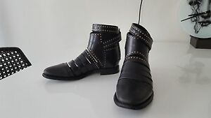 Balenciaga-Gold-Studded-Black-Leather-Ankle-Boots-Sz-36-6-US