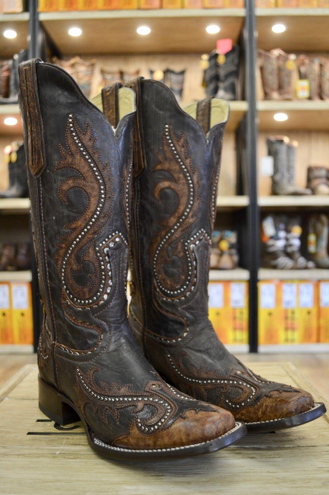 Corral para mujer hermosa hermosa hermosa superposición de dedo del pie cuadrado Tachonado Marrón tabaco botas G1349  para proporcionarle una compra en línea agradable
