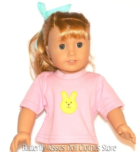 Pink Easter Bunny T-Shirt 18 in Doll Clothes Fits American Girl
