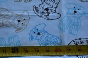 27-034-Long-Blue-Gold-Brown-Doodle-Dogs-on-White-Quilt-Fabric-Kanvas-Lynn-N4848