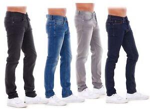 NUOVA-Linea-Uomo-Ragazzi-Slim-Fit-Stretch-Qualita-Jeans-Regolare-Pantaloni-con-marchio-SMART-30-40