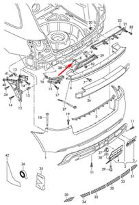 AUDI-A3-8P-STAFFA-SINISTRO-PARAURTI-POSTERIORE-8P3807329A-NUOVO-ORIGINALE-2008