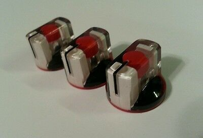1 JAT Pointer Knobs With Set Screw, Fits Guitar Amps and Pedals... Red/Black