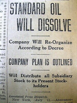 1911 newspaper STANDARD OIL DISSOLVES ITSELF- SUPREME ...