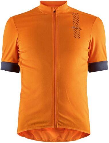 Craft Rise Short Sleeve Mens Cycling Jersey Orange Ergonomic Fit UPF25 Bike Top