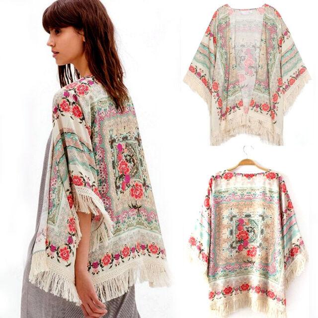 New Summer femmes Floral vrac glands châle Kimono Cardigan manteau veste