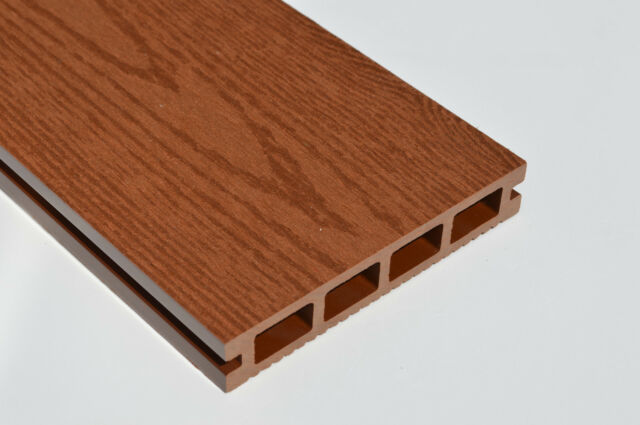 Sample Wood Plastic Composite Decking 140mm X 25mm New Woodgrain Red Brown