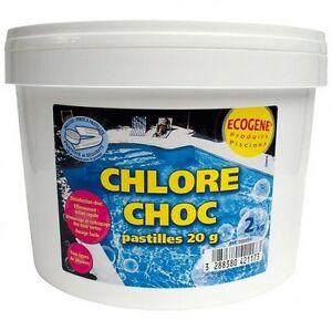 chlore choc eau pure pour piscine pastille 20 g seau 2 kg. Black Bedroom Furniture Sets. Home Design Ideas